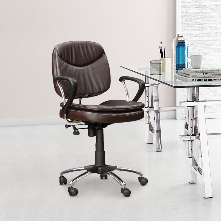 Diego Fabric Office Chair in Brown Colour by HomeTown