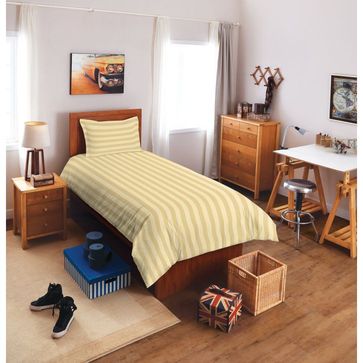 Spaces Sky Cotton Single Bed Sheets in Beige Colour by Spaces