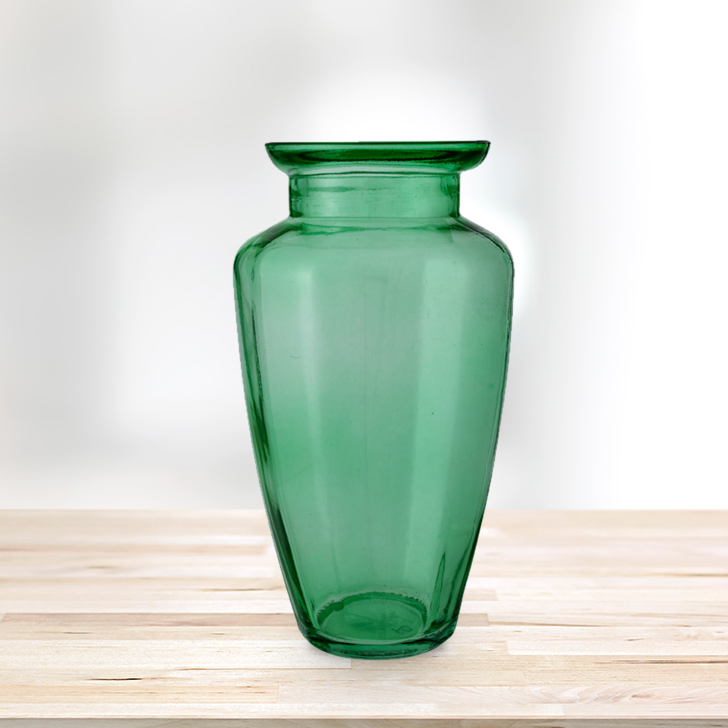 Marvela Colored Glass Vase Sprayed Emerald Glass Vases in Emerald Colour by Living Essence