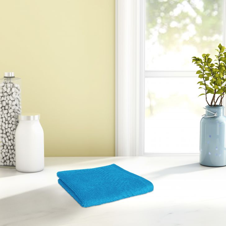 Spaces Cotton Face Towel in Hawain Blue Colour by Spaces