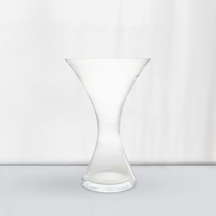 Nile Curved Clear Glass Vase 46 Cm Glass Vases in CLEAR Colour by Living Essence