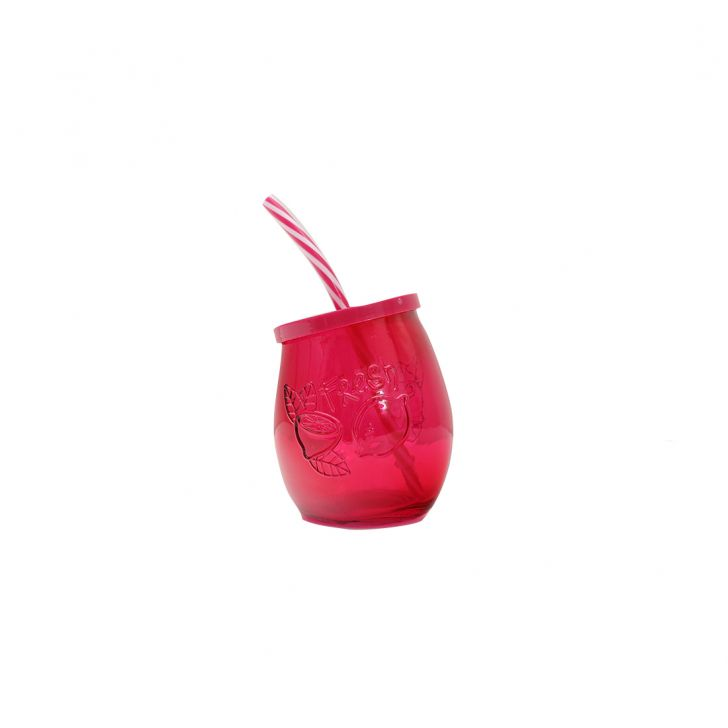 Strawberry Pink Juice Jar Glass Glass Bottles in Pink Colour by Living Essence