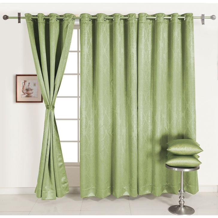 Self Jaqaurd Solid Long Door Curtain In Light Green Color By Swayam
