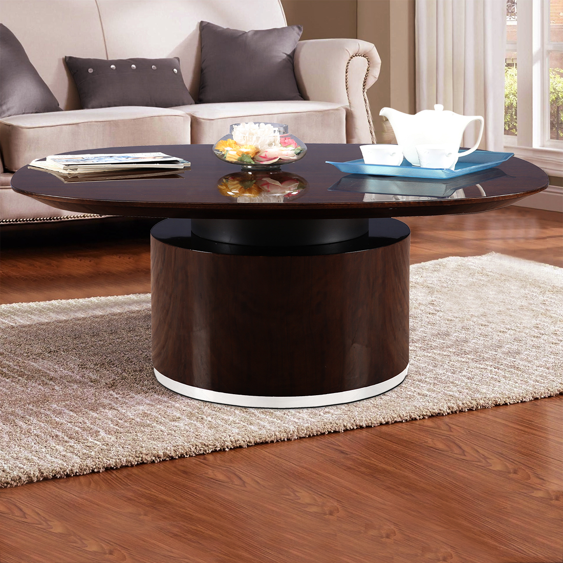 Bernard Engineered Wood High Gloss Center Table in High Gloss Golden Teak Colour by HomeTown