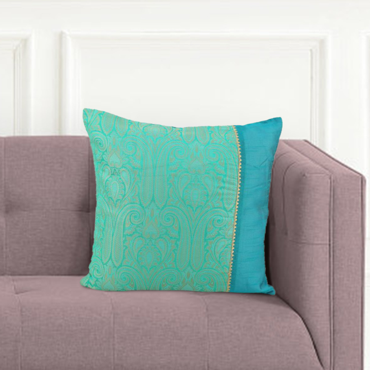 Royale Patch Turq Green Polyester Cushion Covers in Turq Green Colour by Living Essence