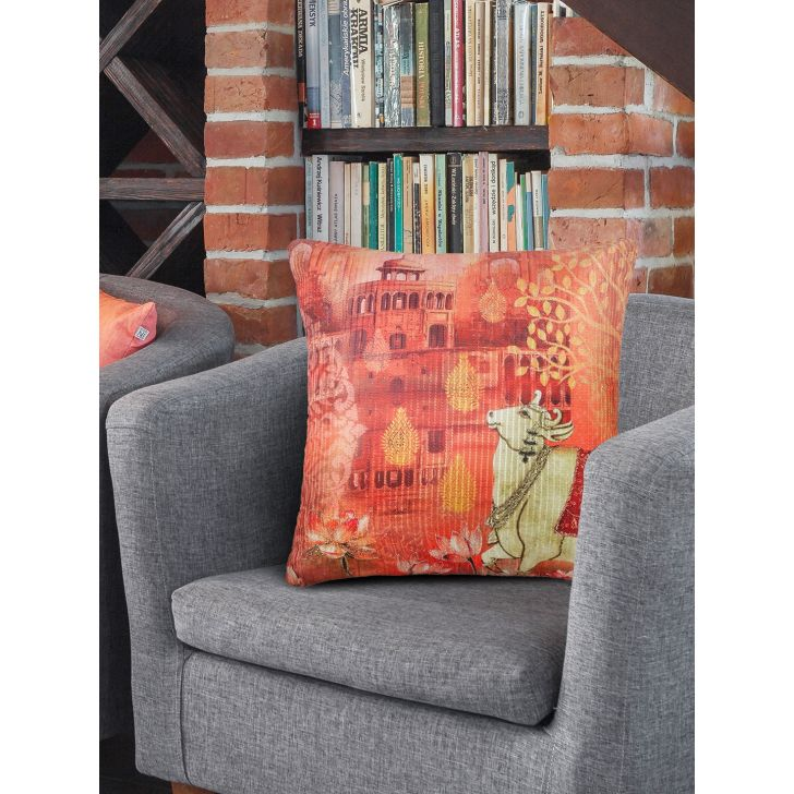 Digi Cow Cotton Cushion Covers in Rust Colour by Living Essence