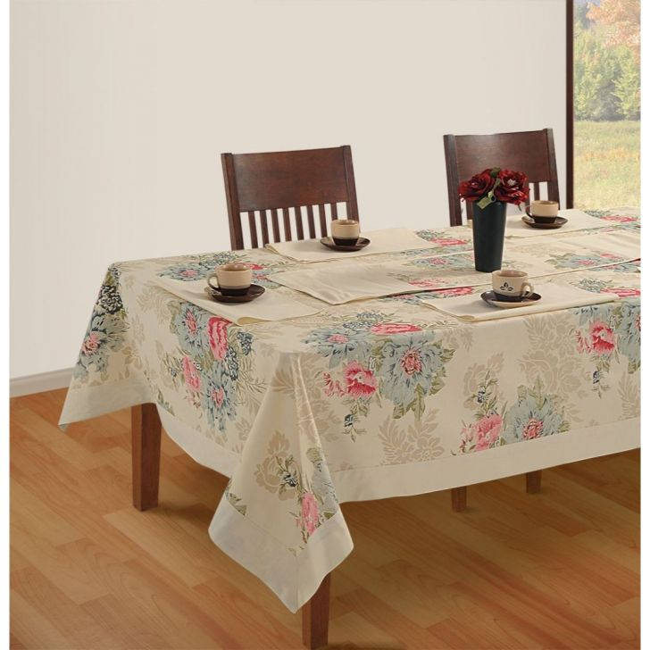 Solid Table Cover 4 Seater In Cream Color By Swayam