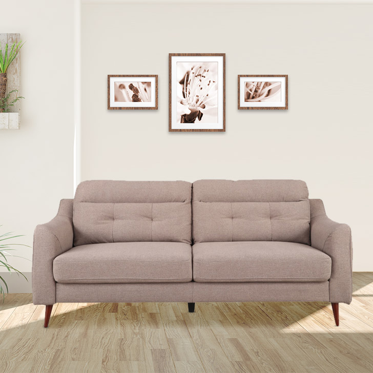 Sheldon Fabric Three Seater Sofa in Brown Colour by HomeTown