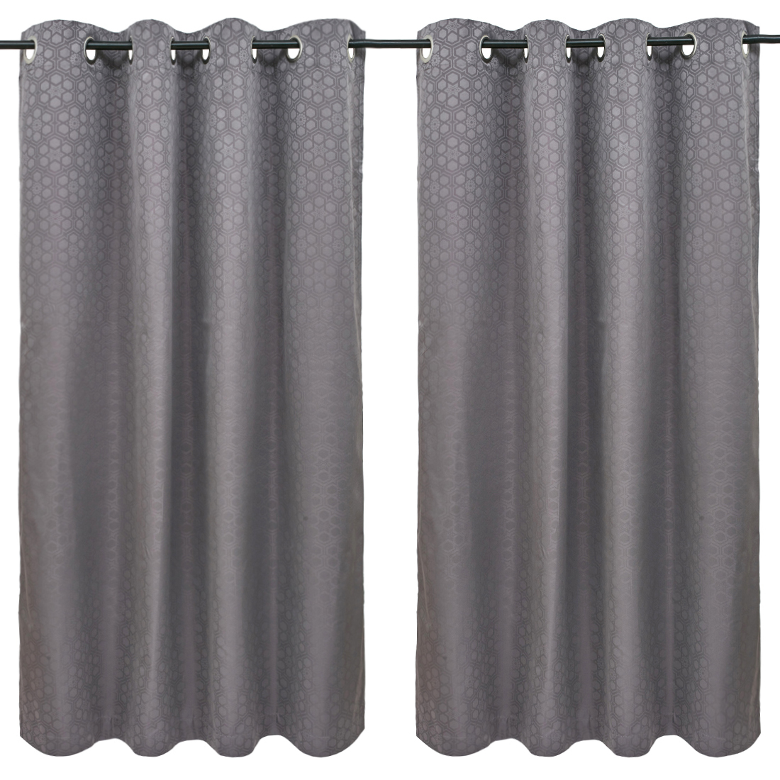 Emilia Jacquard set of 2 Polyester Window Curtains in Charcoal Colour by Living Essence