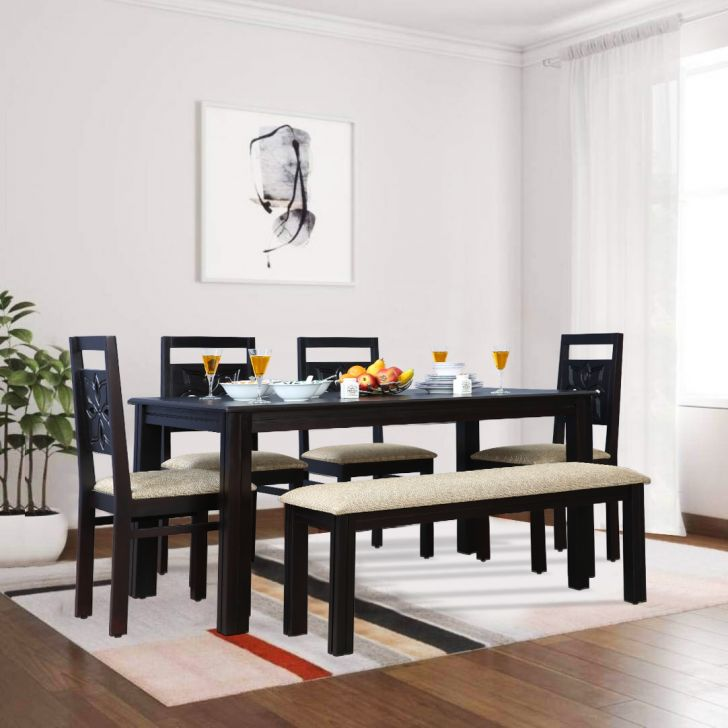 Flora Acacia Wood 6 Seater Dining Set With Bench in Cappuchino Colour by HomeTown