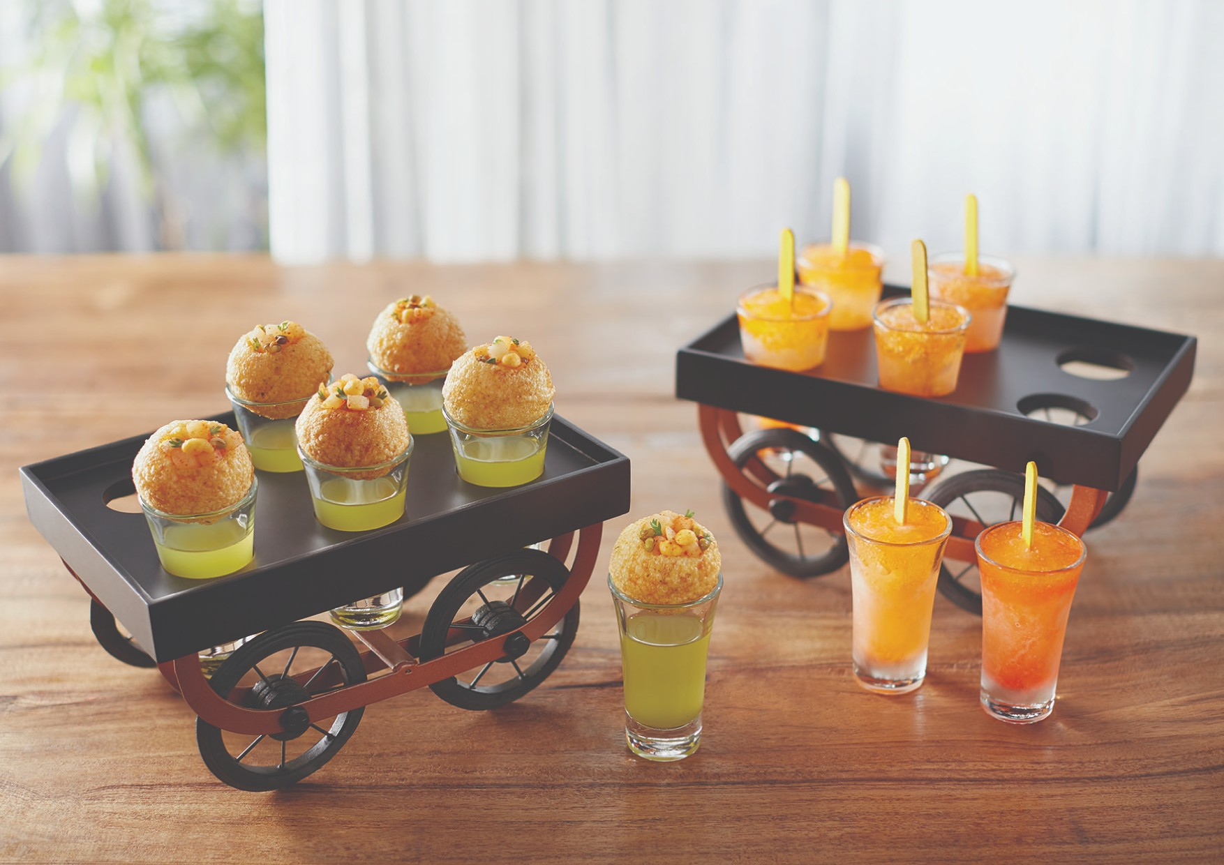 Songbird Panipuri/Popsicle Cart Serving Sets in Black Colour by Songbird