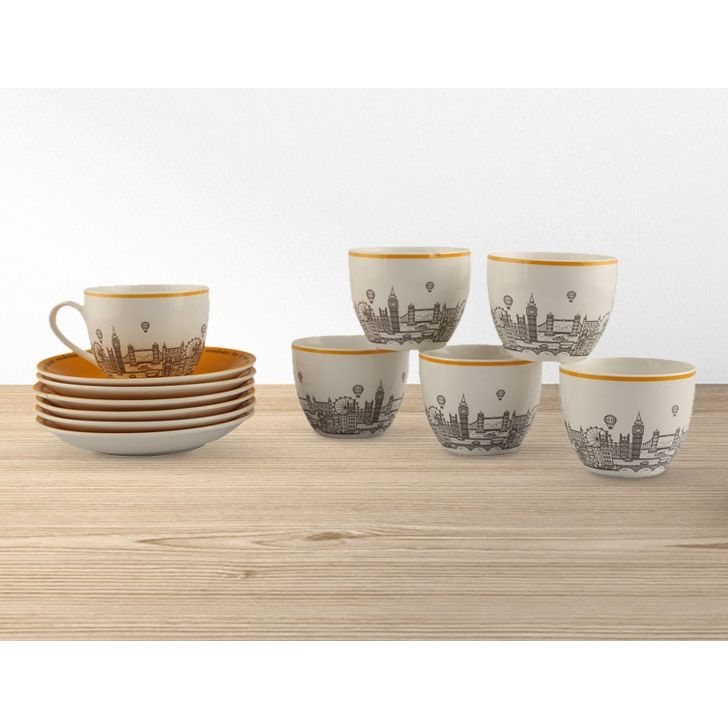 London Eye Yellow Set Of 12 Cup&Saucer Ceramic Cups & Saucers in Grey And Yellow Colour by Living Essence