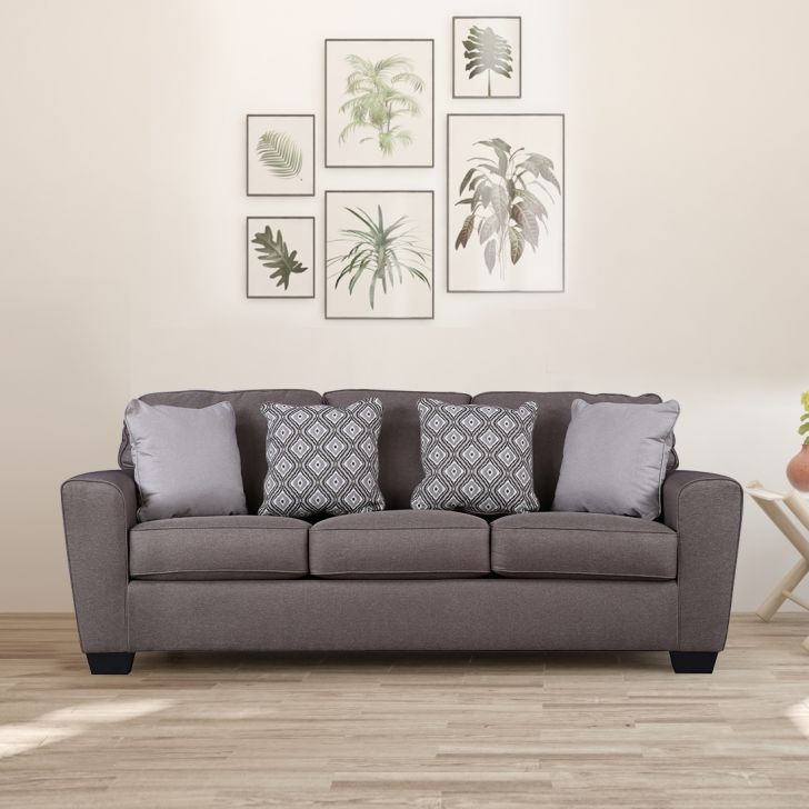 Calicho Solid Wood Three Seater Sofa in Brown Colour by HomeTown