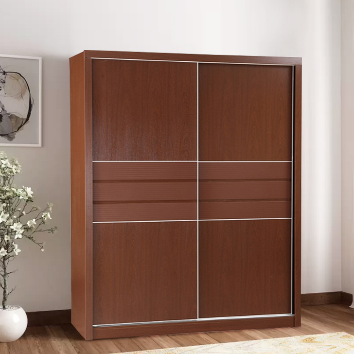 Houston Engineered Wood Sliding Wardrobe in Walnut Colour by HomeTown