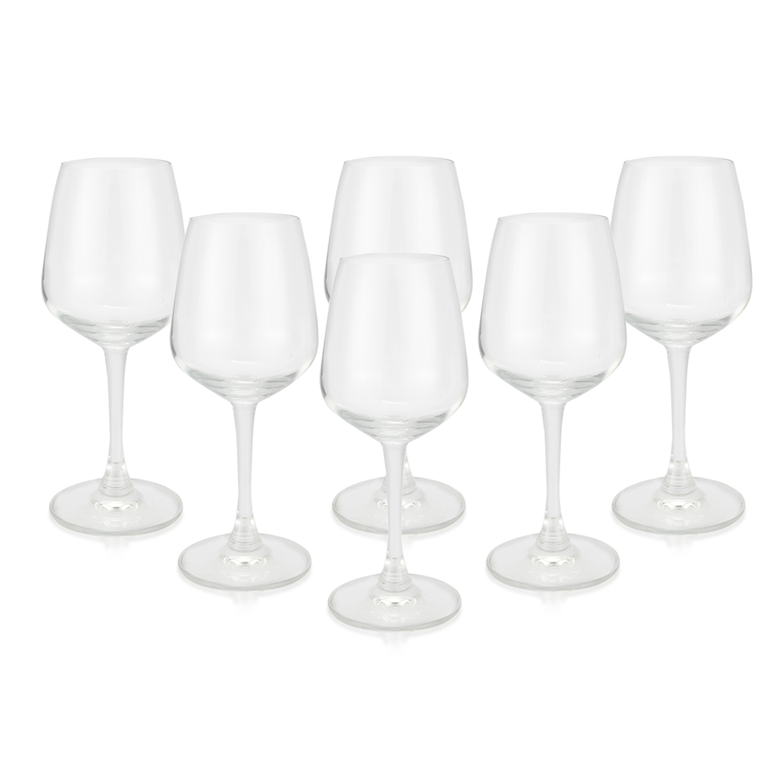 White Wine Tumbler Set Of 6 Pcs 300Ml Glass Bar Glassware in Transparent Colour by Living Essence