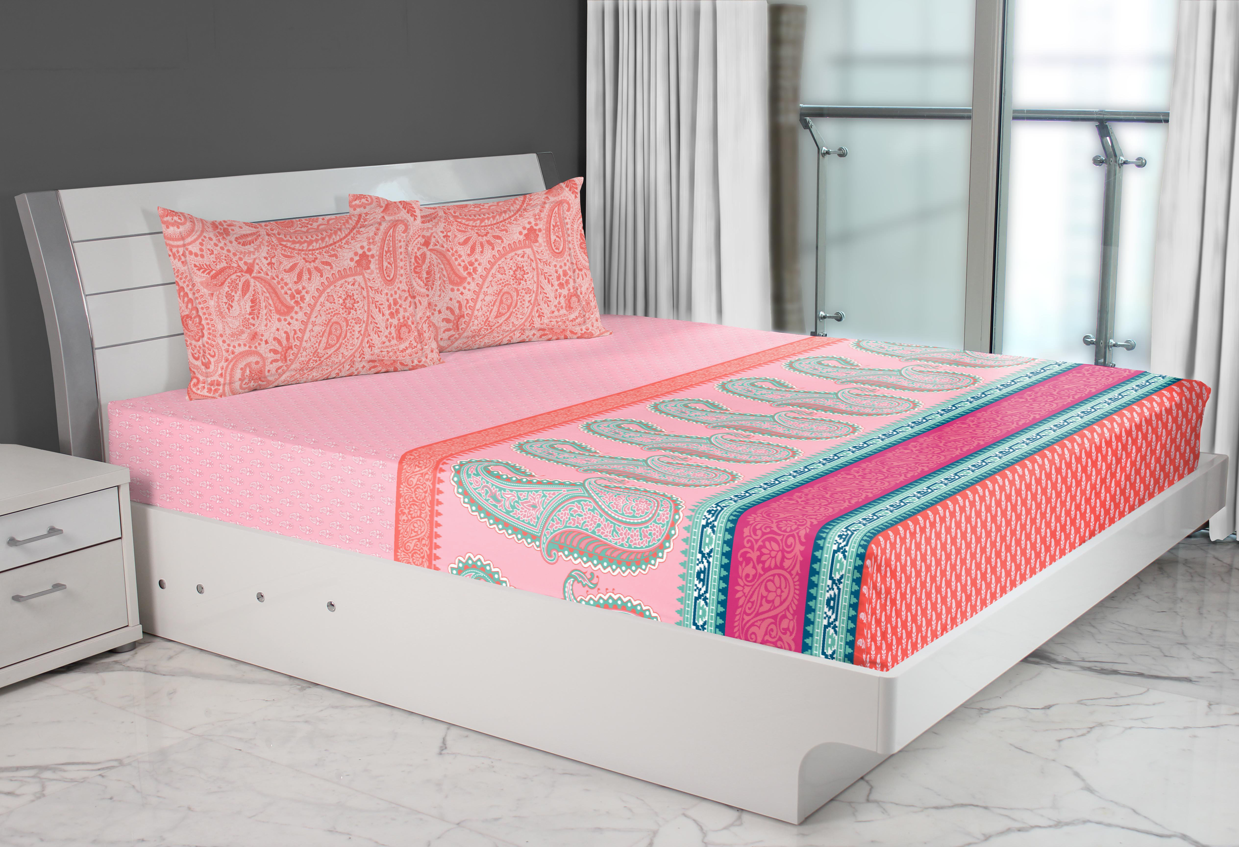 Emilia Cotton Double Bed Sheets in Rose Colour by Living Essence