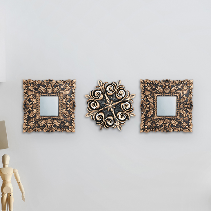 SS18 MIRAGE ORNAMENT MROR S/3 KM01 GLD Polyresin Small Wall Accents in Gold Colour by Living Essence