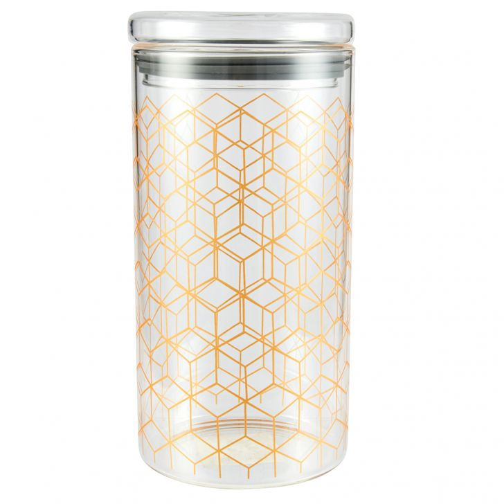 Borosilicate Canister 1360 Ml Glass Canisters & Jars in Transparent Colour by Living Essence
