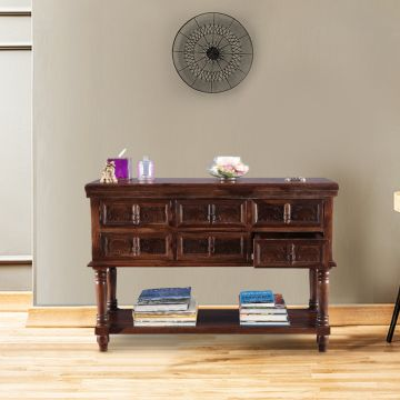 Wondrous Tuskar Rubber Wood Console Table In Walnut Colour By Hometown Download Free Architecture Designs Scobabritishbridgeorg