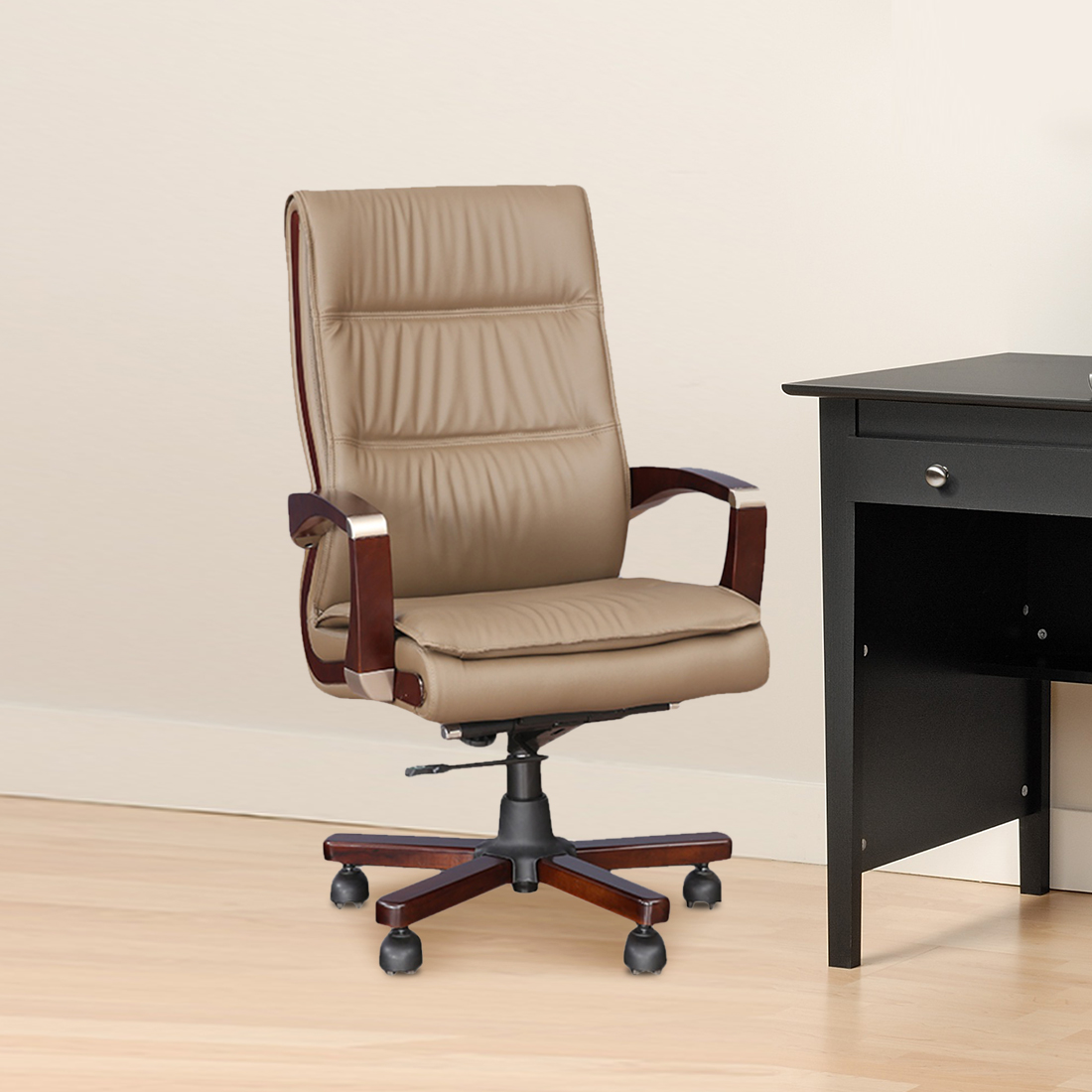 Opal Half Leather High Back Office Chair in Beige Colour by HomeTown