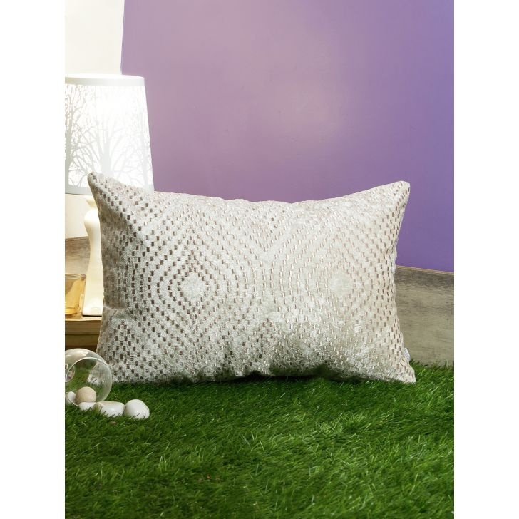 Ogee Pixel Polyester Cushion Covers in Off White Colour by Living Essence