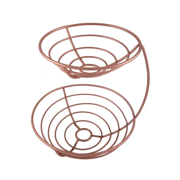 Two Tier Fruit Basket Copper Chromeware in Rose Gold Colour by HomeTown
