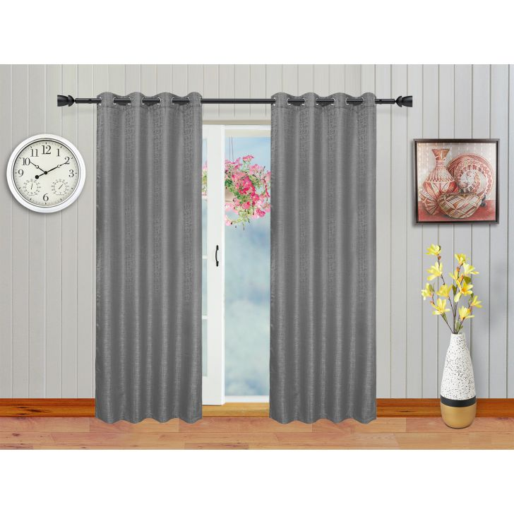 Set of 2 Polyester Door Curtains in Charcoal Colour by Living Essence