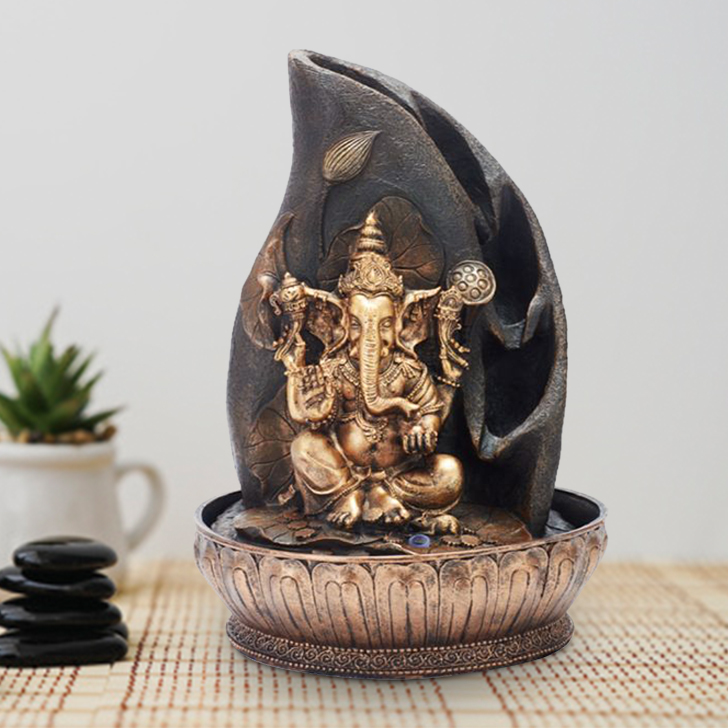 Impression Ganesh Floral Polyresin Small Fountains in Brown/Gold Colour by Living Essence