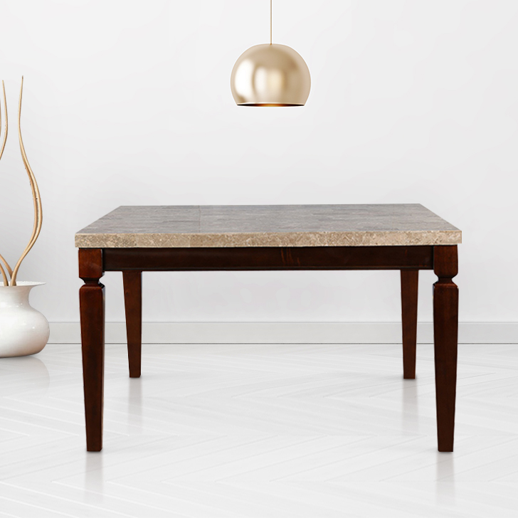 Bliss Solid Wood Marble Top Eight Seater Dining Table in Beige & Brown Colour by HomeTown
