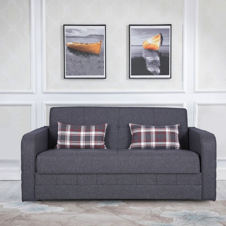 Caroline Solid Wood Sofa cum Bed in Grey Colour by HomeTown