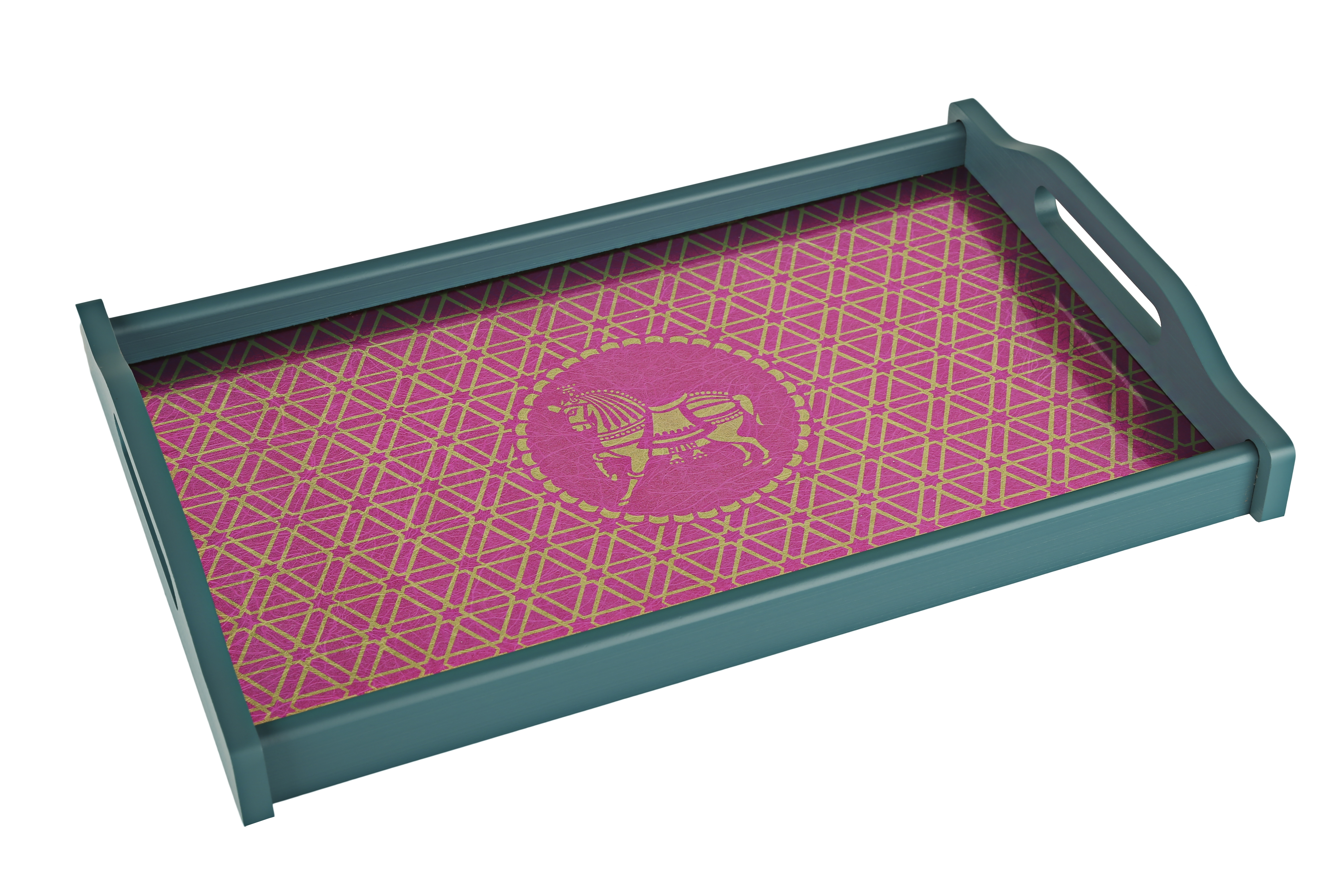LE Elephant & Horses Big Tray Timber Wood Trays in Teal And Pink Colour by Living Essence