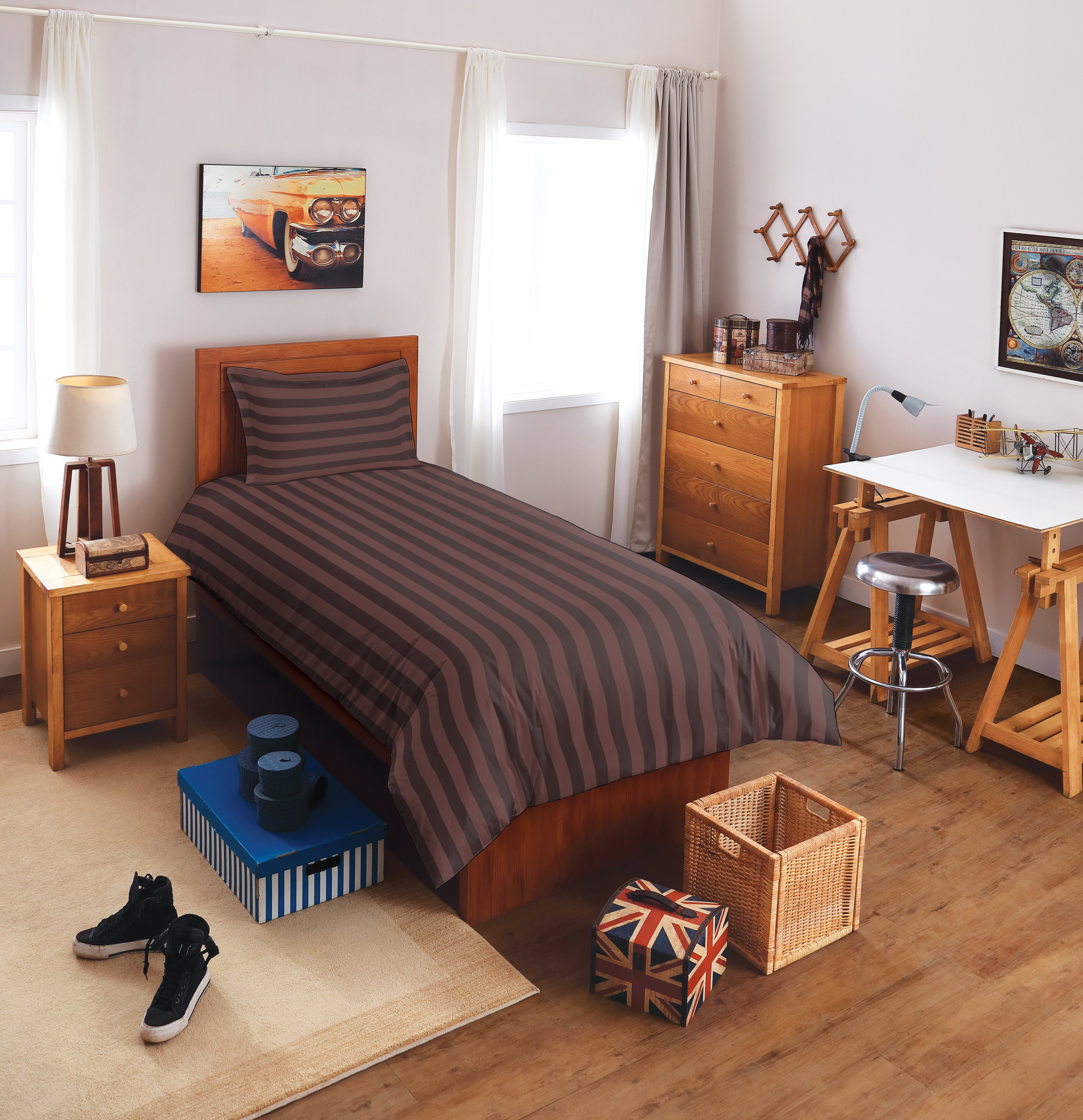 Spaces Sky Cotton Single Bed Sheets in Chocolate Colour by Spaces