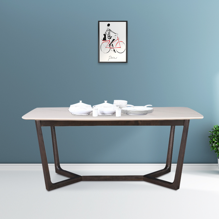 Kristal Solid Wood Marble Top Six Seater Dining Table in Ivory & Grey Colour by HomeTown