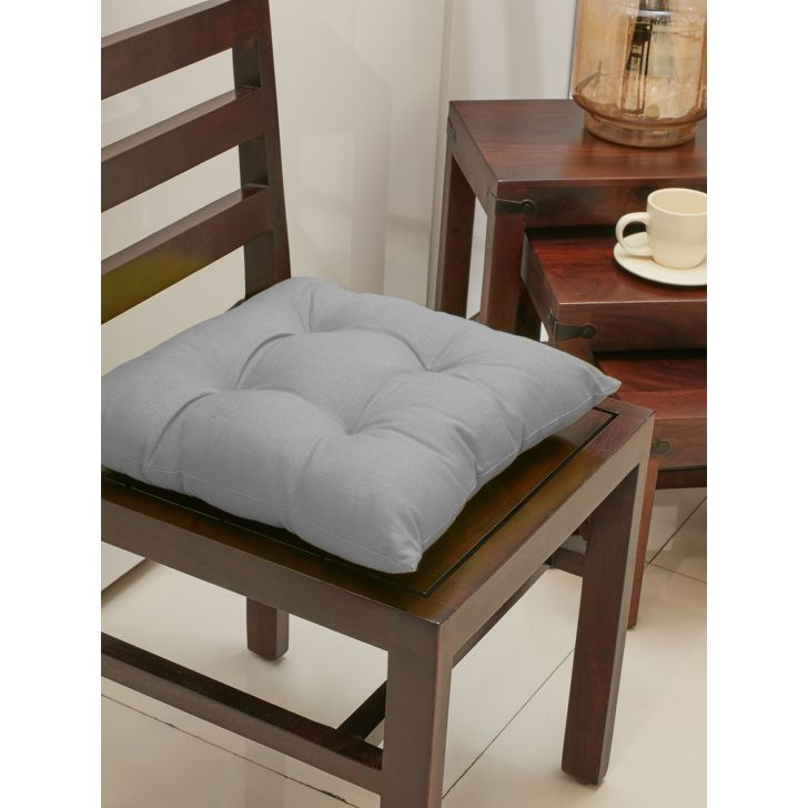 . Cotton Chair Pads in Charcoal Colour by Living Essence