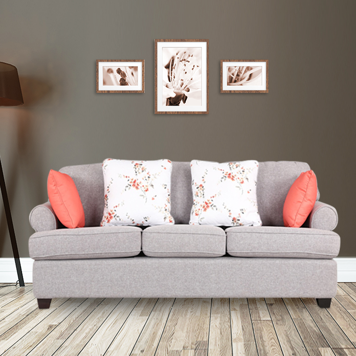 Cadence Fabric Three Seater Sofa in Grey & Clay Colour by HomeTown