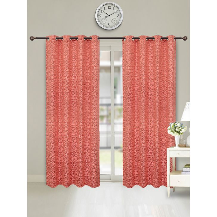 Amour Jacquard Set of 2 Cotton Door Curtains in Blush Colour by Living Essence