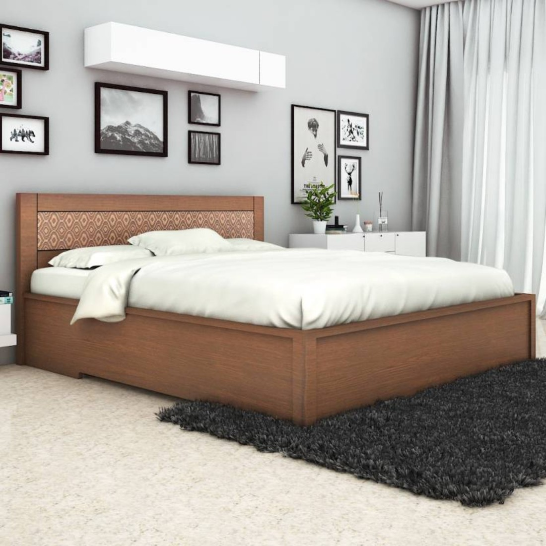 Nebula Engineered Wood Hydraulic Storage King Size Bed in Coffee Brown Colour by HomeTown