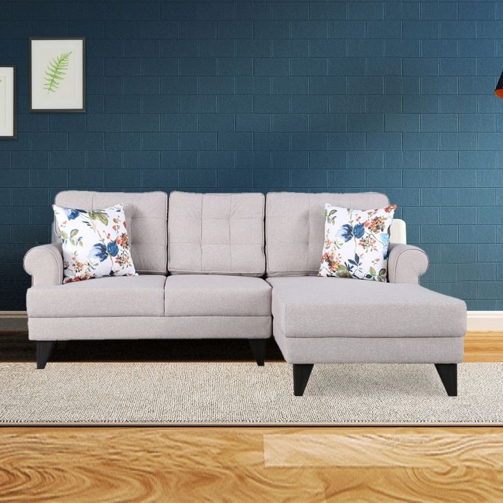 Paddington Fabric Left Hand Side Lounger in Beige Colour by HomeTown