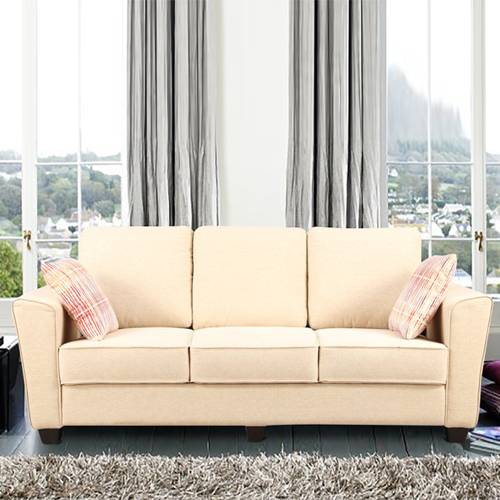 Rogers Fabric Three Seater sofa in Beige Colour by HomeTown