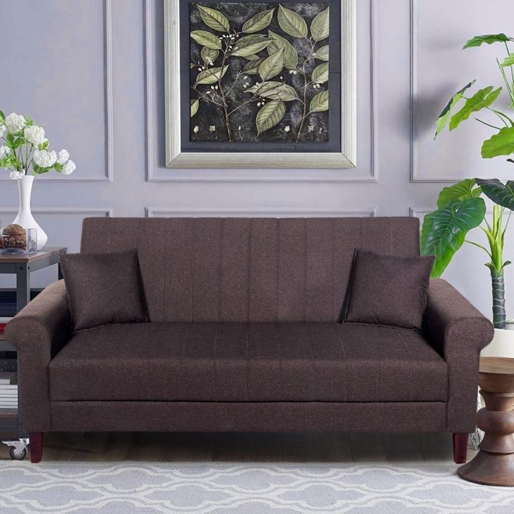 Genesis Solid Wood Three Seater Sofa in Brown Colour by HomeTown