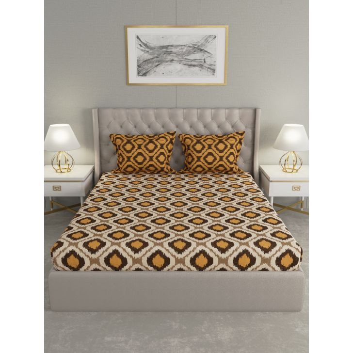 Epic Polycotton Double Bedsheet 220 x 240cms in Brown Colour