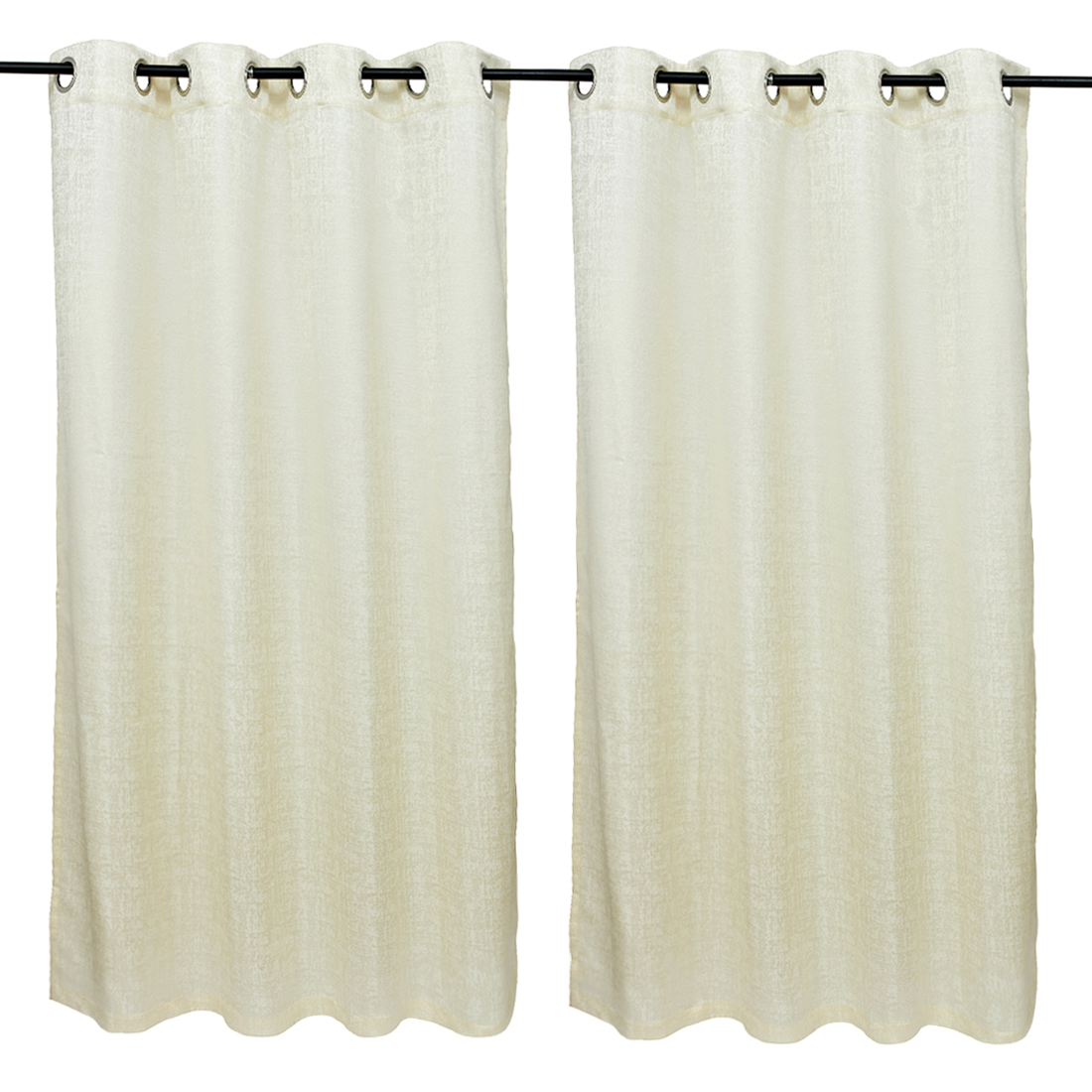 Nora Solid set of 2 Polyester Window Curtains in White Colour by Living Essence