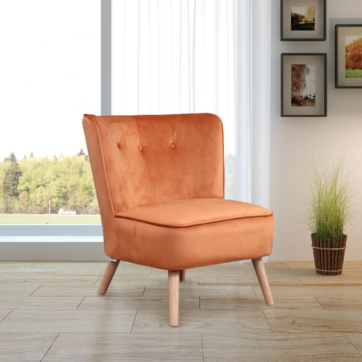 Emma Solid Wood Arm Chair in Rust Colour by HomeTown