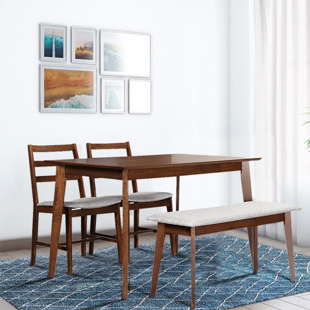 Zina Engineered Wood Four Seater Dining Set in Light Walnut Colour by HomeTown