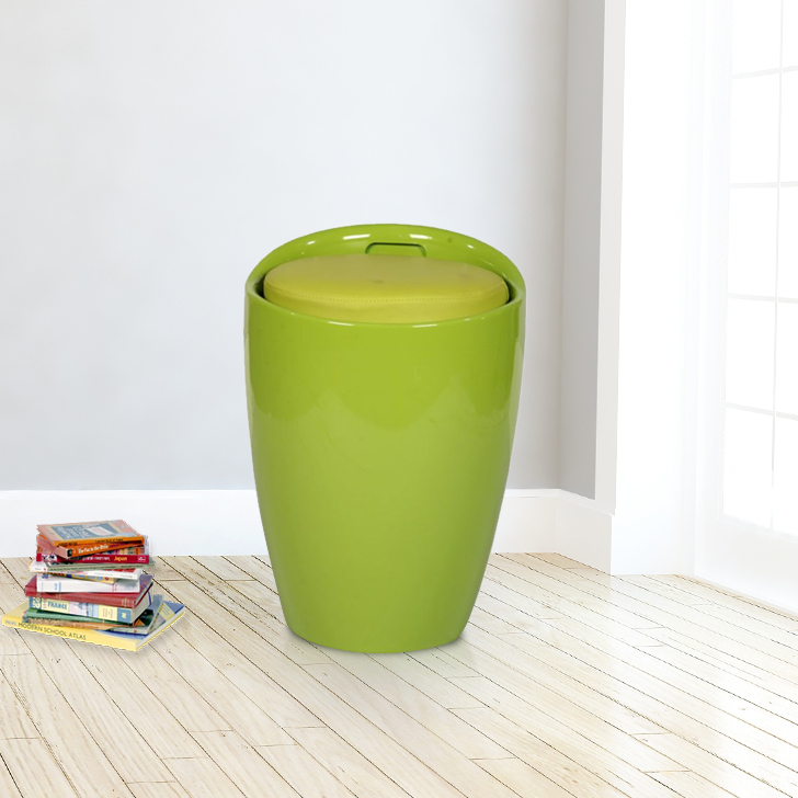 Luna ABS Ottomans and Pouf in Green Colour by HomeTown