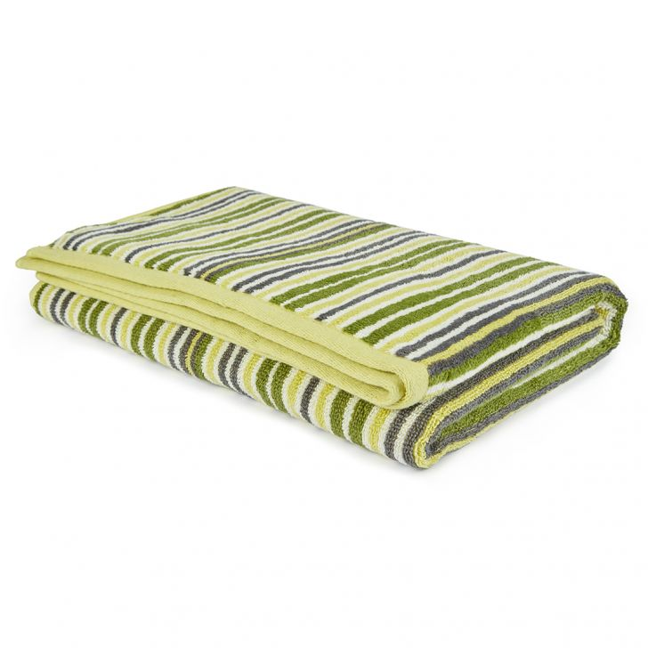 Bath Towel Nora Stripe Moderne Cotton Bath Towels in Multicolour Colour by Living Essence
