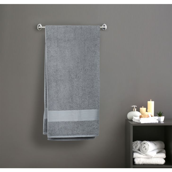 Premium Solid Cotton Bath Towels in Grey Colour by Dreamline