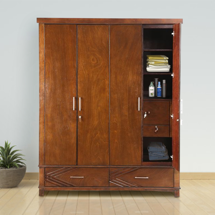 Bavaria Solid Wood Four Door Wardrobe in Walnut Colour by HomeTown