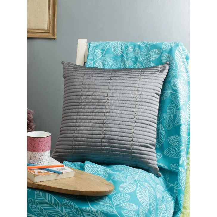 Living Essence Polyester Cushion Cover in Grey Colour by Living Essence