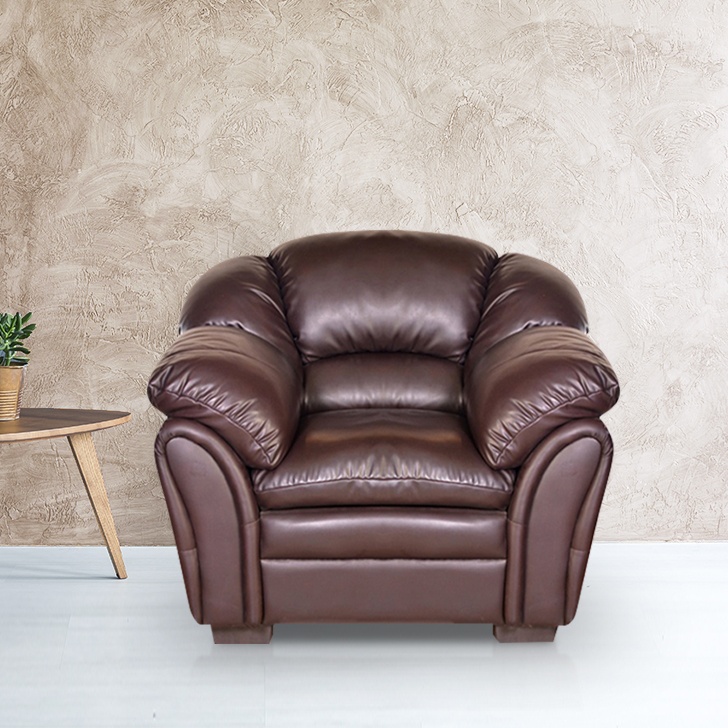 Milano Leather Fabric Single Seater Sofa in Brown Colour by HomeTown